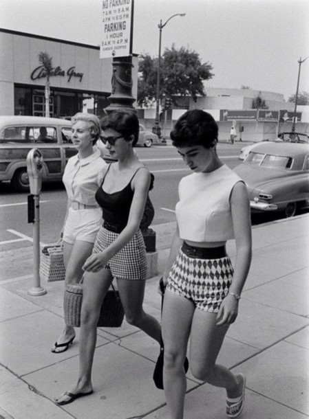 Shirt: shorts, fifties, old school, high waisted shorts, black and ...