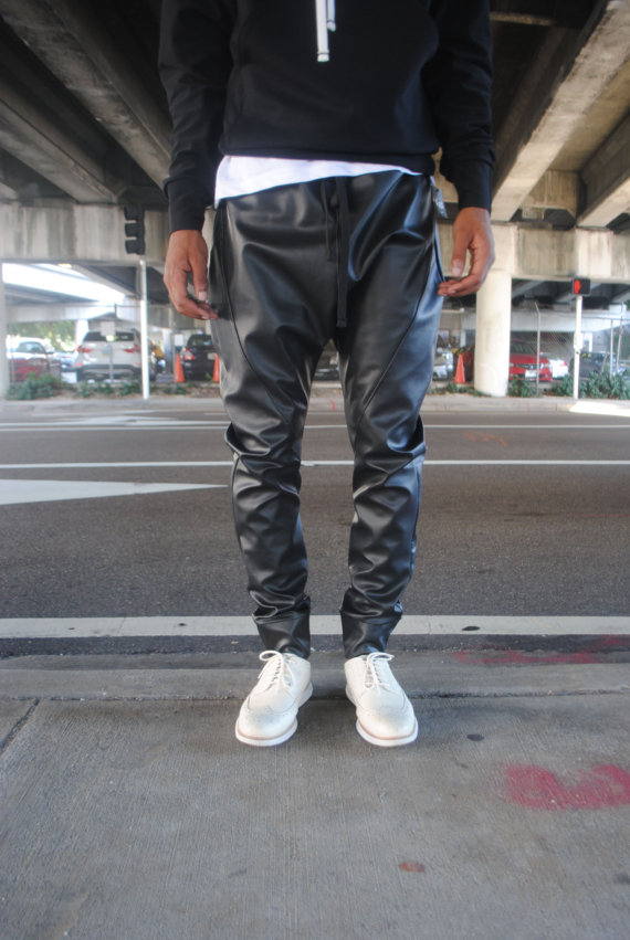 Black Faux Leather Drop Crotch Harem pants // Unisex by GAGTHREADS