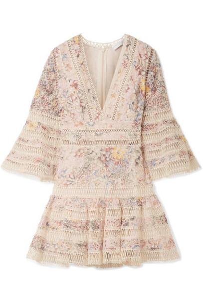 Zimmermann dress mini dress mini pastel floral cotton print pink pastel pink