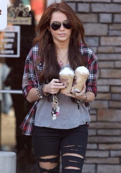 jeans miley cyrus ripped jeans flannel shirt starbucks coffee top t-shirt shirt