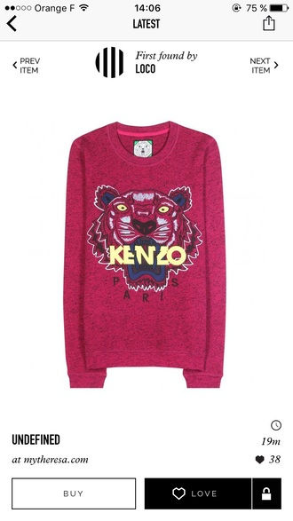 sweater pink pullover pink pull fashion kenzo tendance