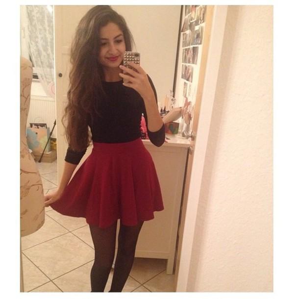 skirt red beautiful shirt black shirt red skirtr