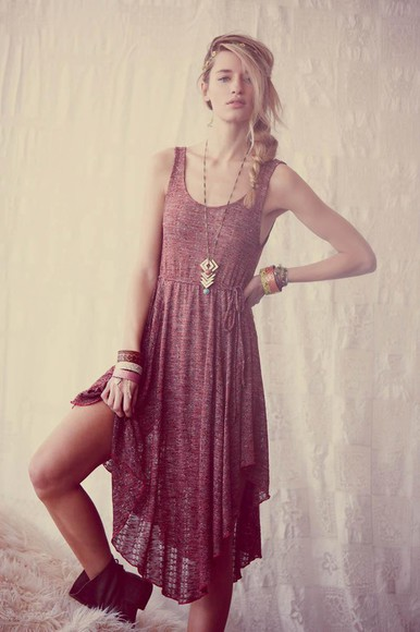 dress boho indie burgundy