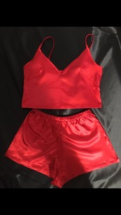 pajamas,red,two-piece,shorts,underwear,silk,lingerie,lingerie set,silk pajamas,silk shorts,silk top,red pajamas,tank top,sexy,sleepwear,silk sleepwear,crop tops,short,victoria's secret,top,pink,cute,silky pajamas,pretty,red silk,blouse,red silk 2 piece,shirt,satin,satin pajama set,set,bedtime,pants,v neck,girly,nightwear,black,matching set,jumpsuit,red and silk