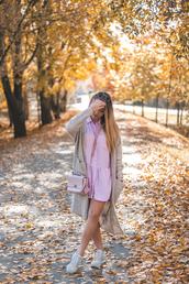 kolorowa dusza,blogger,cardigan,dress,bag,jewels,sunglasses,shoes,fall outfits,grey cardigan,sneakers,shirt dress