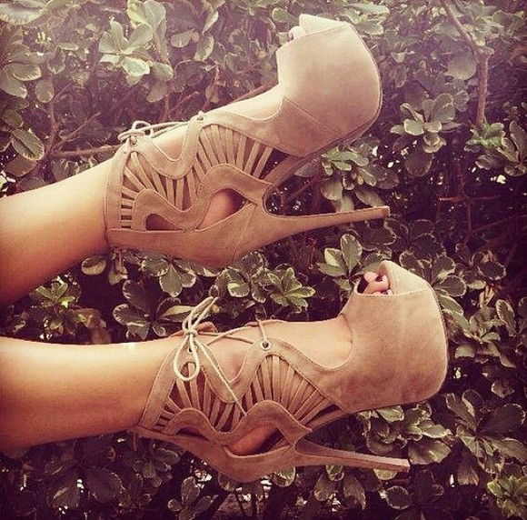 shoes pump high heels stiletto platform tan suede strappy nude shoes nude high heels