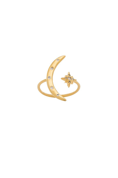 Jacquie Aiche Moon & Shining Star Ring in gold / metallic