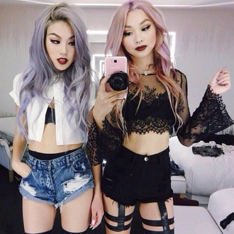 hair accessory pastel hair black crop top jacket blouse shirt top pants