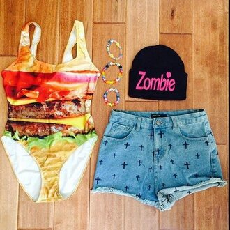 swimwear ha outfit hat zombie shorts hamburger