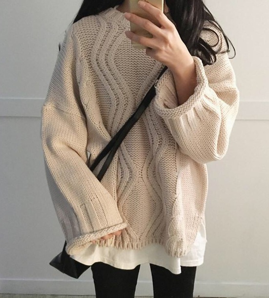 sweater girly cream off-white knitted sweater cable knit crop sweater