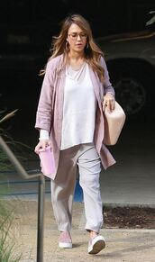 pants,cardigan,jessica alba,streetstyle,top,tunic,fall outfits,shoes