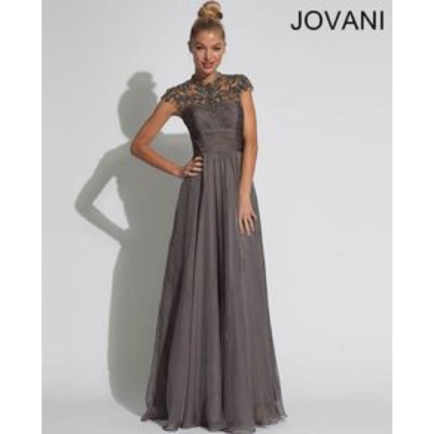 dress jovani prom dress gown grey