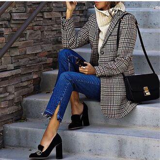 shoes tumblr coat printed coat sweater turtleneck turtleneck sweater nude sweater jeans blue jeans bag lack bag pumps high heel pumps thick heel block heels black shoes gucci gucci shoes