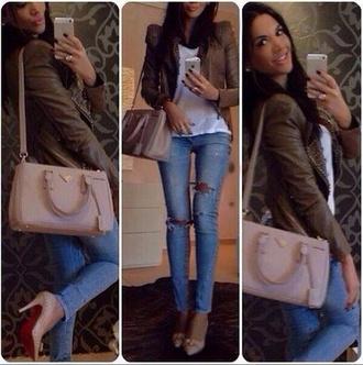 jeans ripped jeans light denim brown leather jacket leather jacket jacket bag
