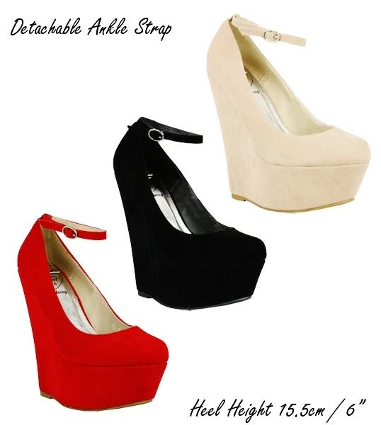 RED, BLACK OR NUDE WEDGE HEELS ANKLE STRAP SHOES 3-8 D3812 PARTY ...