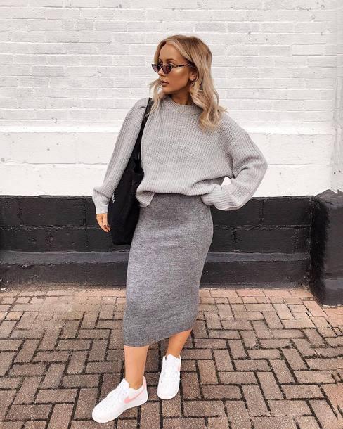 cbe6011bd skirt, midi skirt, knitted skirt, pencil skirt, sneakers, nike ...