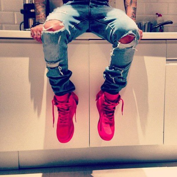 shoes swag jeans ripped jeans red high top sneakers