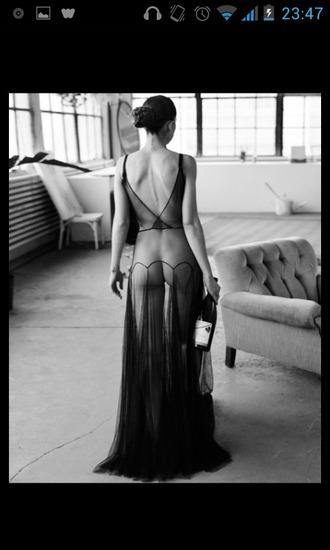 dress black floor length dress transparent maxi sexy hot dessous lingerie intimates open back dress v cut