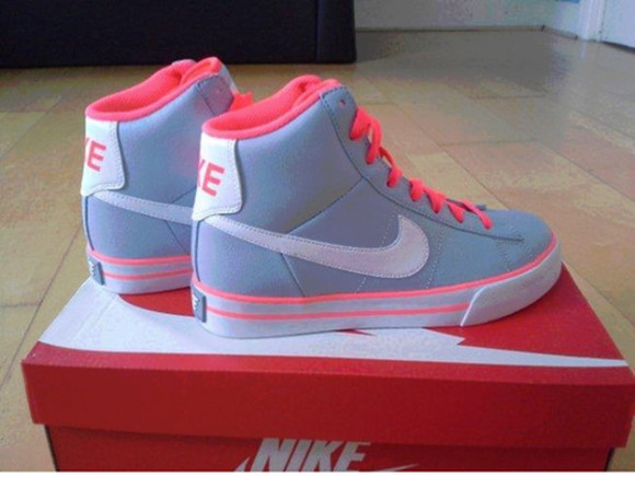 shoes white pink shoes grey love hot pink and grey dress nike pink and gray nike gray nike pink high tops