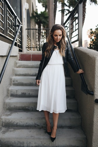 merrick's art // style + sewing for the everyday girl blogger scarf shoes jacket leather jacket white dress maxi dress black heels midi dress black leather jacket leather ja black jacket pumps pointed toe pumps black pumps