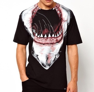 t-shirt shark swag tyga mens t-shirt animal face print