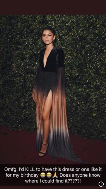 dress zendaya birthday dress cheaper version please long sleeves long dress black dress ombre