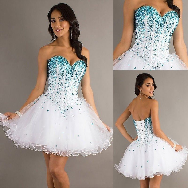 Free Shipping Sexy A Line New Fashion 2014 Sleeveless Blue Crystal White Formal Girl Party Homecoming Short Mini Prom Dresses-in Prom Dresses from Apparel & Accessories on Aliexpress.com