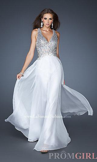 Neck prom dresses, la femme prom gowns