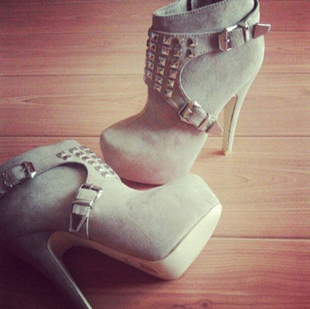 shoes grey boots booties studded shoes high heels high heel booties