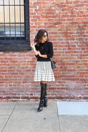 this time tomorrow,blogger,bag,sunglasses,jewels,checkered,black boots,black and white