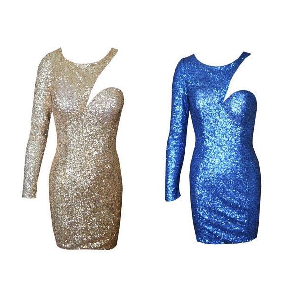 Two colors fashion shoulder long sleeve cut out gold sequins sexy dress. party dress · fe clothing · online store powered by storenvy