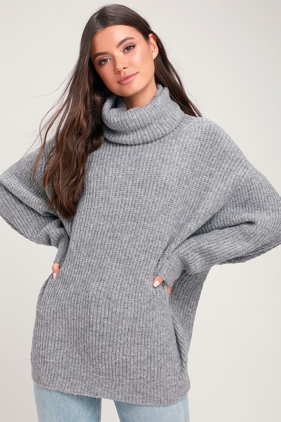 Chic Grey Knit Sweater - Oversized Sweater - Turtleneck Sweater