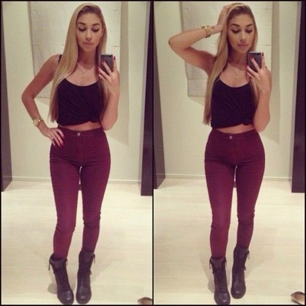 Pants: burgundy, jeans, high waisted, high waisted jeans, skinny ...