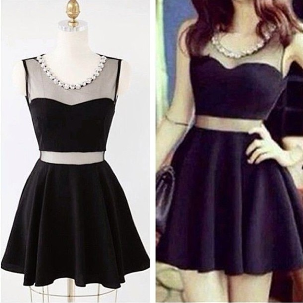 dress lace pearl black cute fashion chic pretty beautiful dress lady sweet skater  dress sweet 16 040c025a9