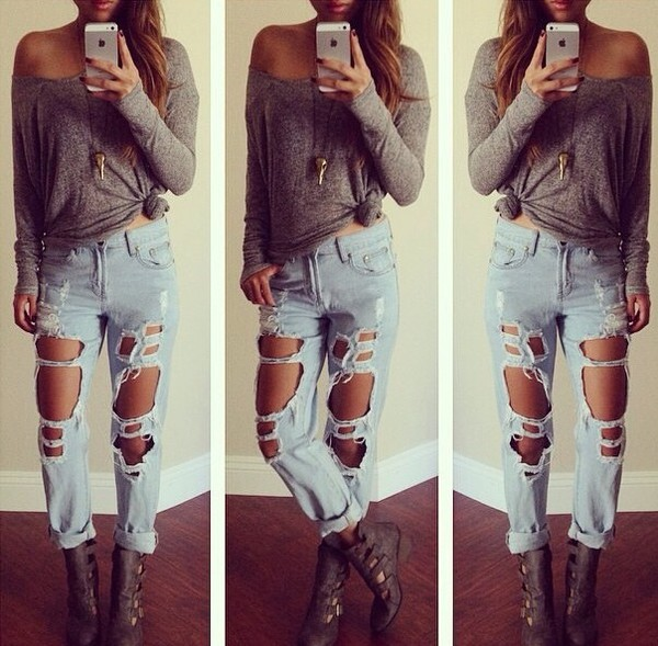 jeans ripped jeans grey long sleeve shirt. jewels pajamas cardigan