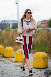 styledumonde,blogger,sweater,skirt,bag,jewels,sunglasses,midi skirt,vans,sneakers,vans outfits,stripes,striped skirt,pencil skirt,gucci,gucci bag,dionysus,white sweater,statement necklace,necklace,black sunglasses,white cable knit sweater