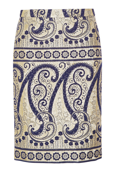 J.Crew | Collection paisley-jacquard pencil skirt | NET-A-PORTER.COM