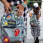 bag,backpack,denim,nirvana,hipster,patch,blue,patched denim,patched bag,denim bag,denim backpack,canvas backpack,acid wash