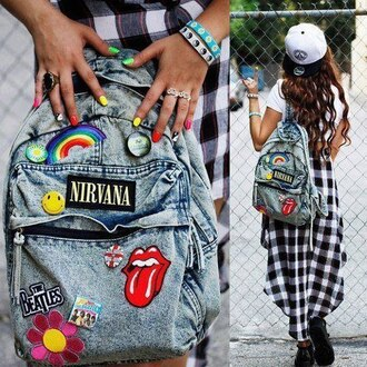 bag backpack denim nirvana hipster patch blue rock jeans denim bag tie-dye backpack with patches of bands bookbag denim backpack i'm really looking for it canvas backpack acid wash nirvana grunge style fashion tumblr rock bag school skirt colorful plaid jewels hat vintage indie soft grunge shoes hair accessory jacket plaid shirt