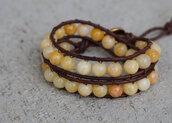 jewels,jade,jade bracelet,yellow bracelet,fall leather wrap bracelet,double leather wrap bracelet,natural brown leather,leather wrap bracelet,leather wrap