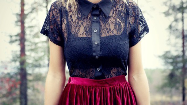 shirt clothes black shirt clouse lace black skirt red skirt velvet velvet skirt top blouse t-shirt black lace lovely cute shirt lovely i must have it ??? please tell me where to get it *-* ????