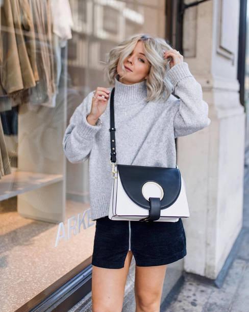 sweater tumblr grey sweater knit knitwear knitted sweater bag mini skirt skirt zip zipped skirt
