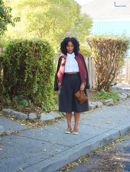 baseball jacket blogger pouch chanelfiles animal print midi skirt vans curvy