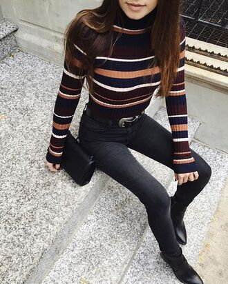 sweater grunge 90s style 80s style comfy cute chill love turtleneck stripes striped sweater