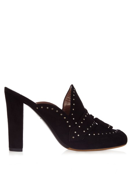 tabitha simmons embellished mules black shoes