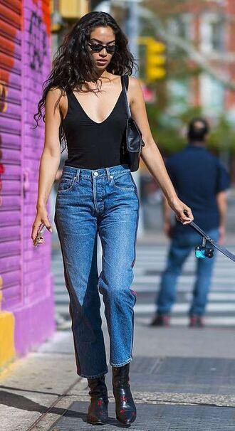 top jeans denim boots shanina shaik model off-duty streetstyle tank top bodysuit
