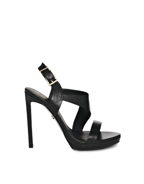 KG Kurt Geiger | KG by Kurt Geiger Earl Black Leather Strap Heeled Sandals at ASOS