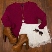 burgundy sweater,lace shorts,white lace shorts,platform booties,brown booties,brown platform booties,summer shorts,burgundy