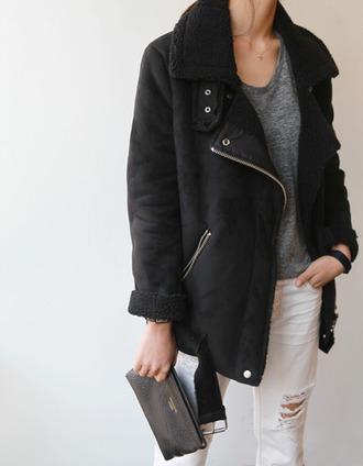jacket winter outfits warm fur coat black black coat perfecto winter coat shearling jacket