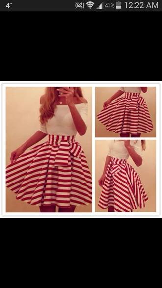 skirt red dress red skirt stripes skirt red and white bow